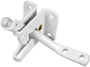 National Hardware  White  Steel  Automatic  Gate Latch