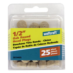 Wolfcraft  Round  Oak  Head Plug  1/2 in. Dia. x 0.3 in. L 1 pk Natural