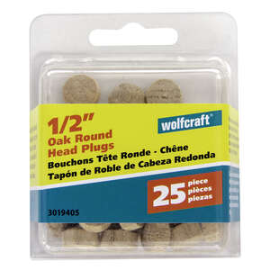 Wolfcraft  Round  Oak  Round Head Plug  1/2 in. Dia. x 0.3  L 25 pk Natural