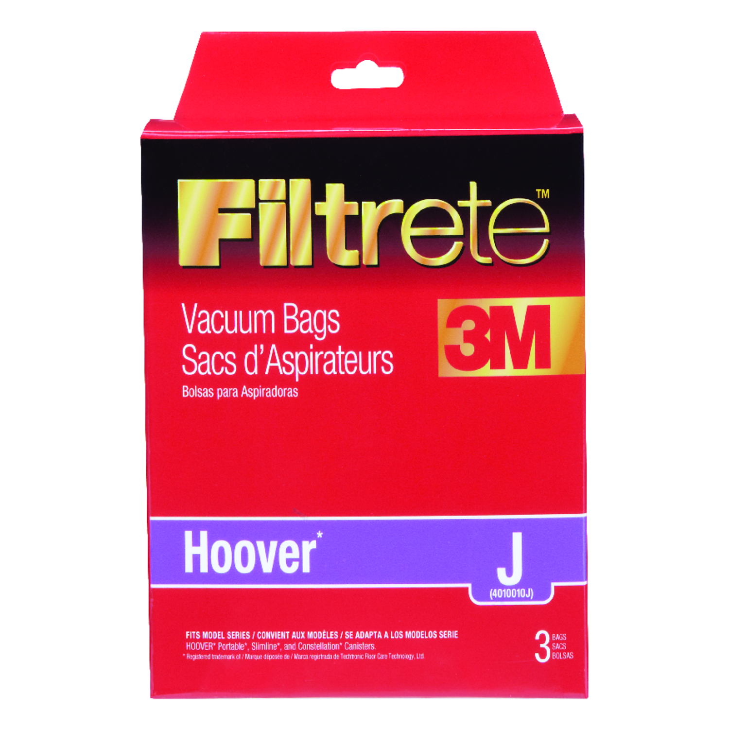 Hoover  Vacuum Bags Micro Allergen Style J Fits Hoover Boxed 3 / Pack Canister