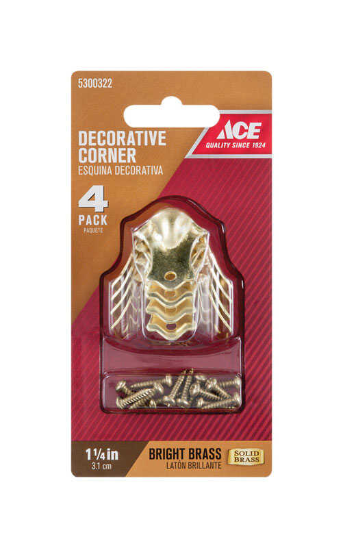 Ace  Bright  Brass  Decorative Corner  1.3 in. 4 pk