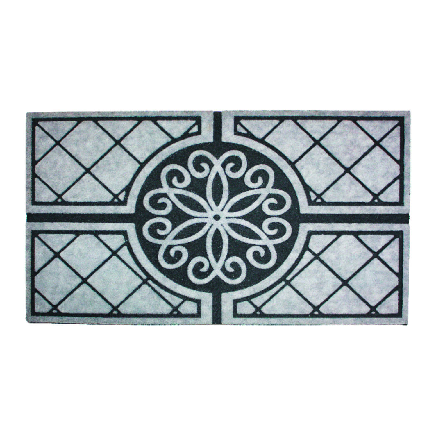 J & M Home Fashions 30 in. L x 18 in. W Gray Nonslip Door Mat