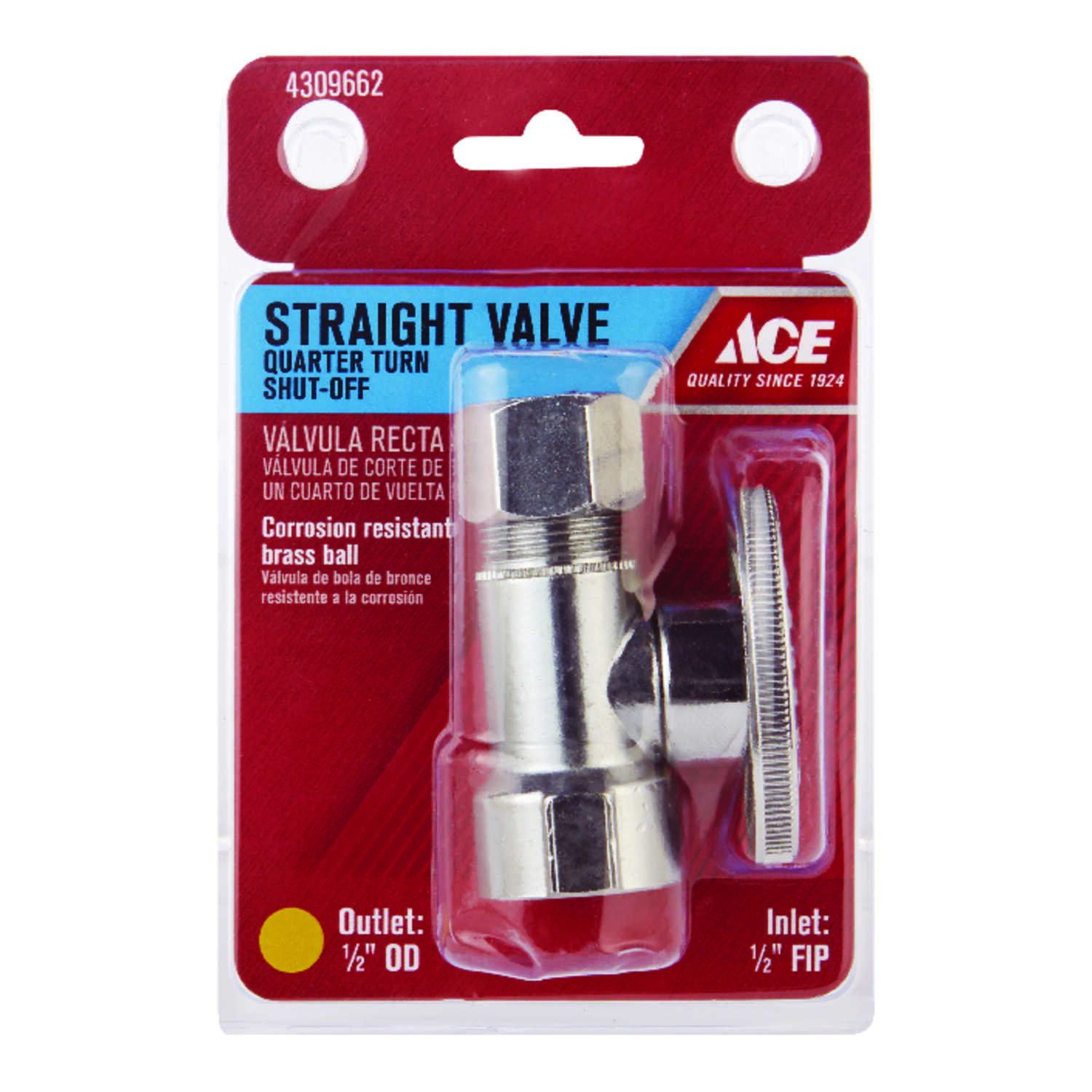 Ace  1/2 in. FIP   x 1/2 in. Dia. Compression  Brass  Quarter Turn  Straight Stop Valve