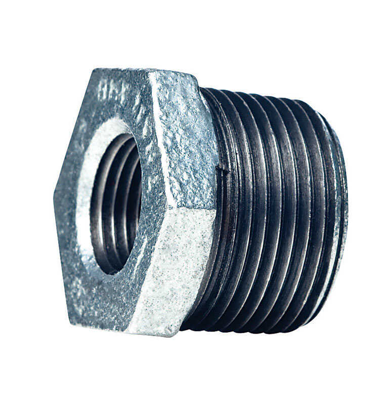 Mueller  2-1/2 in. MPT   x 1-1/2 in. Dia. FPT  Galvanized  Malleable Iron  Hex Bushing