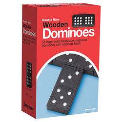 Pressman  Double Nine Wooden Dominoes  Multicolored