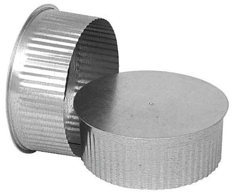Imperial Manufacturing  4 in. Dia. Galvanized steel  Crimped  Pipe End Cap