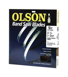 Olson  93.5 in. L x 0.1 in. W x 0.03 in. thick  Carbon Steel  Band Saw Blade  14 TPI Regular teeth 1