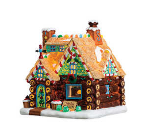 Lemax  Yule Log Cabin  Porcelain Village House  Multicolored  Resin  1 pk