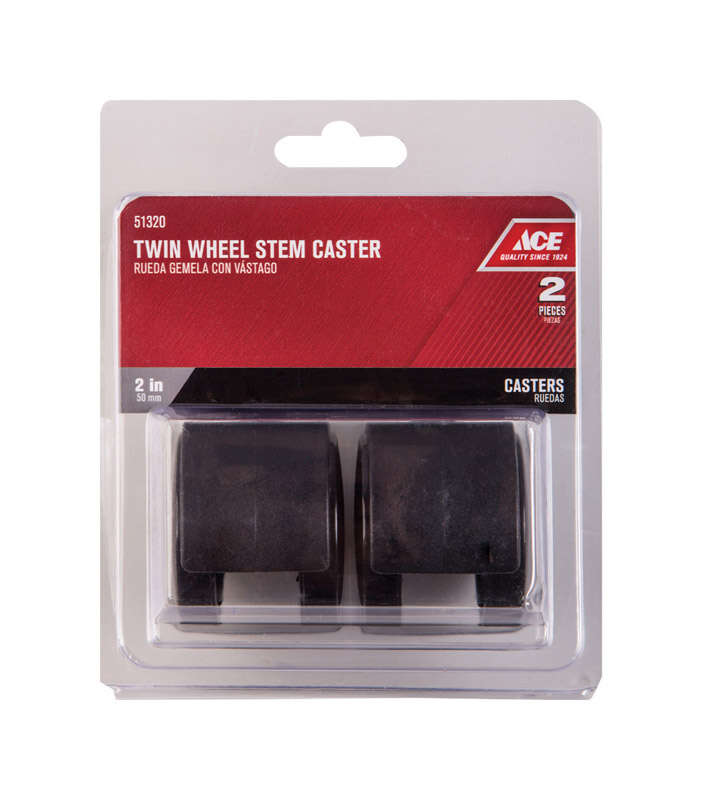 Ace  2 in. Dia. Swivel Twin Wheel Caster with Stem  75 lb. 2 pk