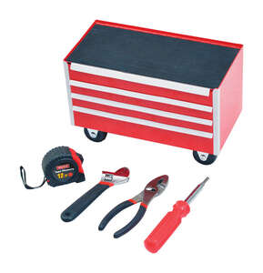 Ace  10 in. 4 drawer 6.75 in. H x 5.5 in. D Metal  Mini Tool Cabinet With Tools  Red