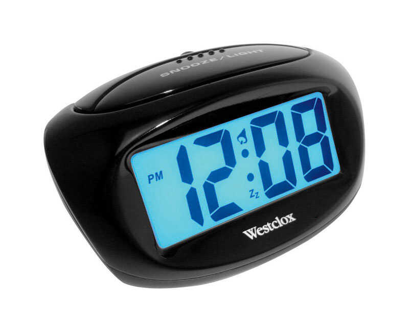Westclox  1 in. Black  Alarm Clock  Digital