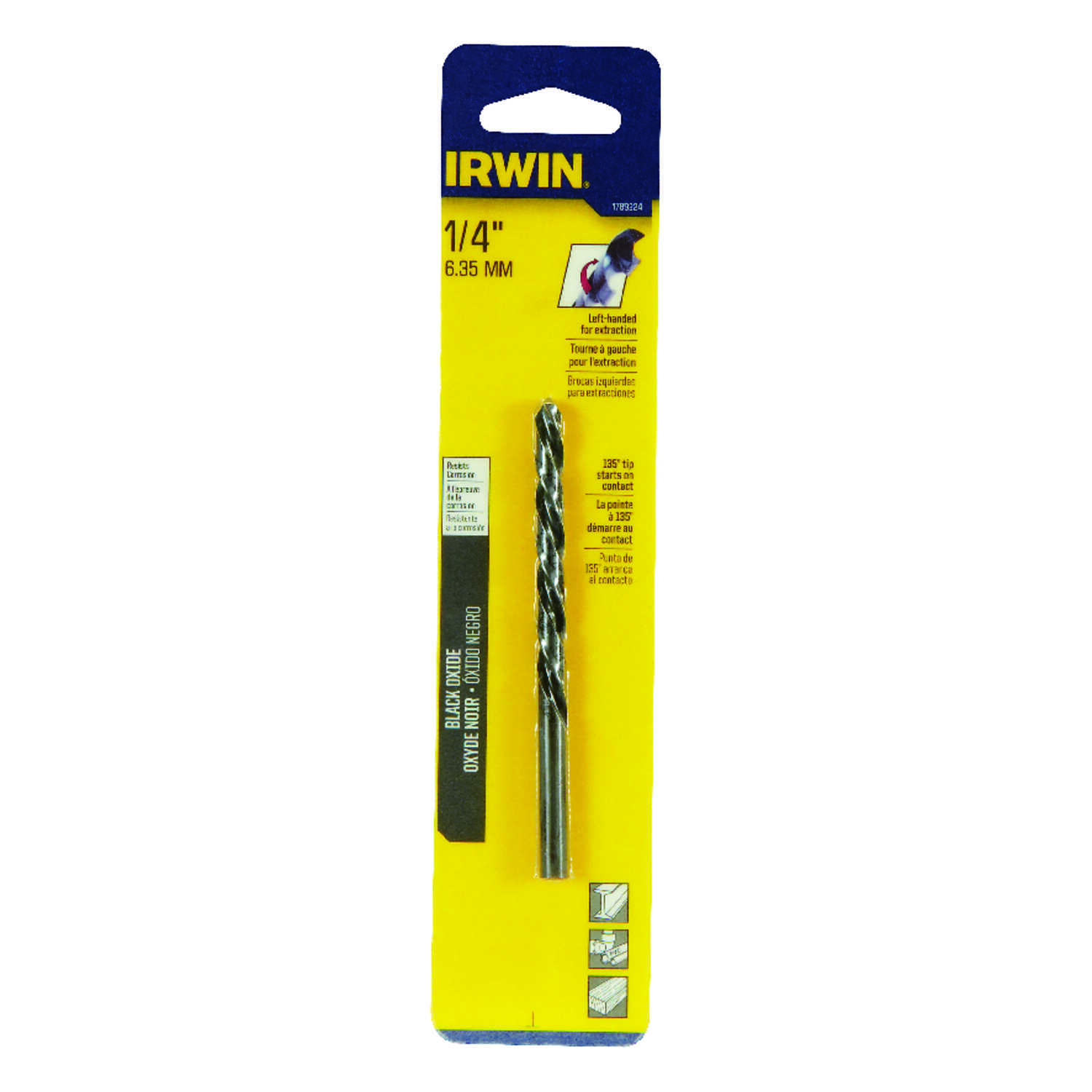 Irwin  1/4 in. Dia. x 5-7/8 in. L High Speed Steel  Left Hand Drill Bit  1 pc.
