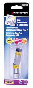 Monster Cable  Compression  RG6  Compression  Connector  2 pk