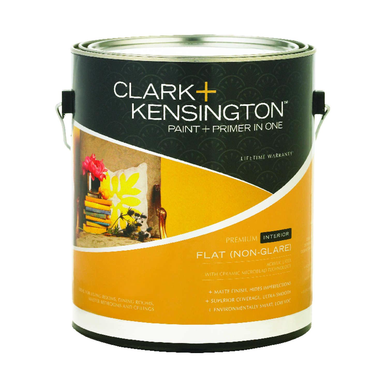 Clark kensington flat designer white acrylic latex paint and primer 1