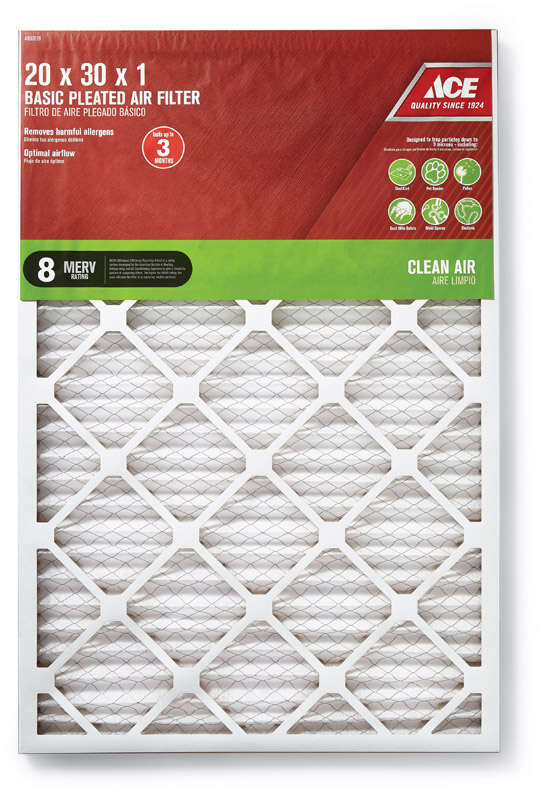 Ace  30 in. H x 20 in. W x 1 in. D Pleated  Air Filter