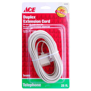 Ace  25 ft. L Ivory  Plug/Twin Jack Extension Line Cord