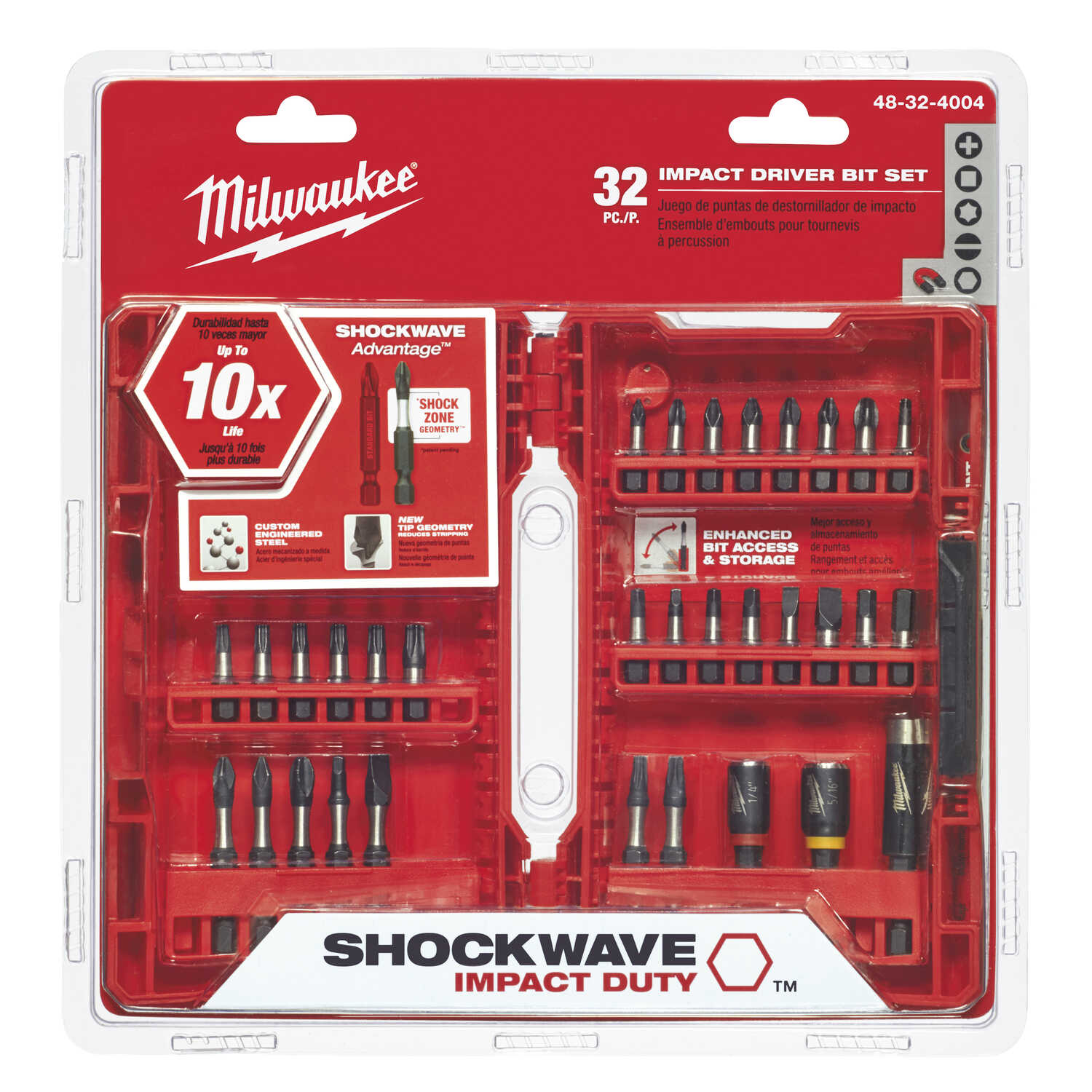 Milwaukee  SHOCKWAVE  Assorted  Impact Duty  Screwdriver Bit Set  Steel  1/4 in. Hex Shank  32 pc.