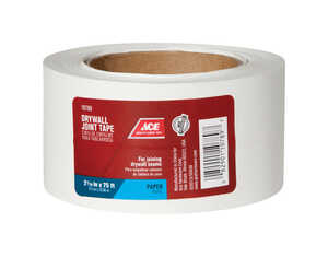Ace  75 ft. L x 2.06 in. W x 2-1/16 in. W x 75 ft. L White  Drywall Joint Tape  Self Adhesive Paper