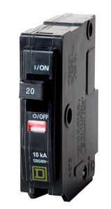 Square D  QO  20 amps Plug In  Single Pole  Circuit Breaker