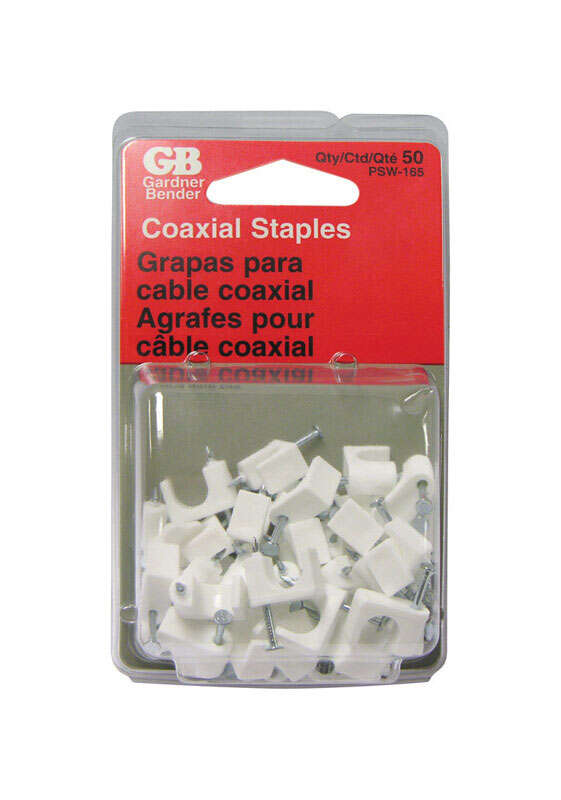 GB  1/4 in. W Plastic  Insulated Coaxial Staple  50