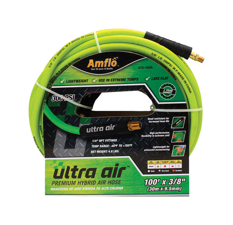 Amflo  Ultra Air  100 ft. L x 1/4 in.  Hybrid Air Hose  Rubber/PVC  300 psi Green
