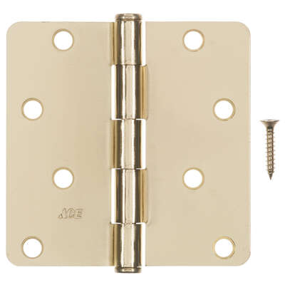 Ace  4 in. L Bright Brass  Residential Door Hinge  3 pk