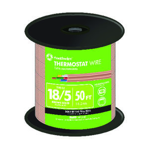 Southwire  50 ft. 18/5  Solid  Copper  Thermostat Wire