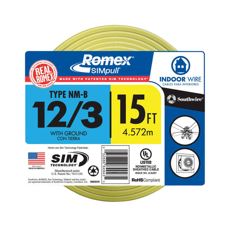 Southwire  15 ft. 12/3  Romex Type NM-B WG Non-Metallic  Wire  Solid