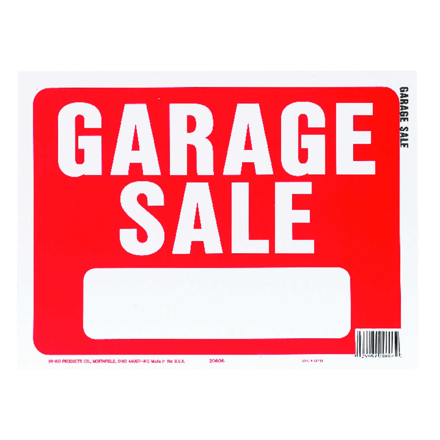 Hy-Ko  English  Garage Sale  Sign  Plastic  9 in. H x 12 in. W