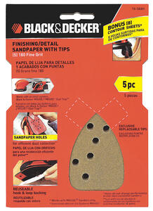 Black and Decker  Mouse  6 in. L x 4 in. W 180 Grit Fine  Aluminum Oxide  Sandpaper  5 pk