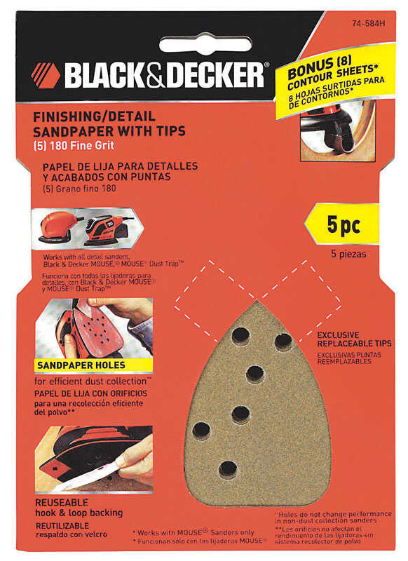 Black and Decker  Mouse  6 in. L x 4 in. W 180 Grit Sandpaper  5 pk Fine  Aluminum Oxide