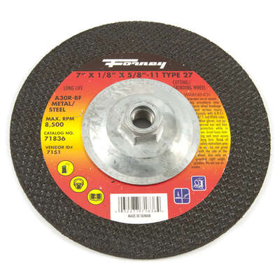 Forney  7 in. Dia. x 1/8 in. thick  Metal Grinding Wheel  1 pc.
