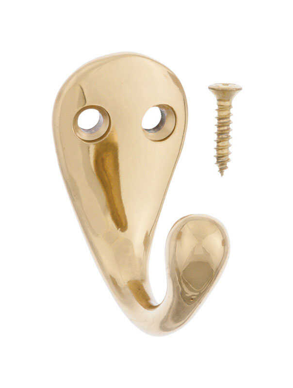 Ace  1-3/4 in. L Bright Brass  Gold  Brass  Small  Single Garment  Hook  1 pk