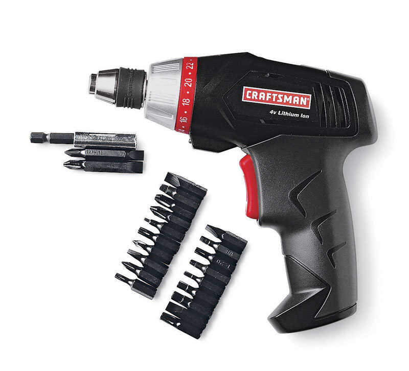 Craftsman  1/4 in. Hex  Cordless  Battery Operated Screwdriver  4 volt 600 rpm 1 pc.