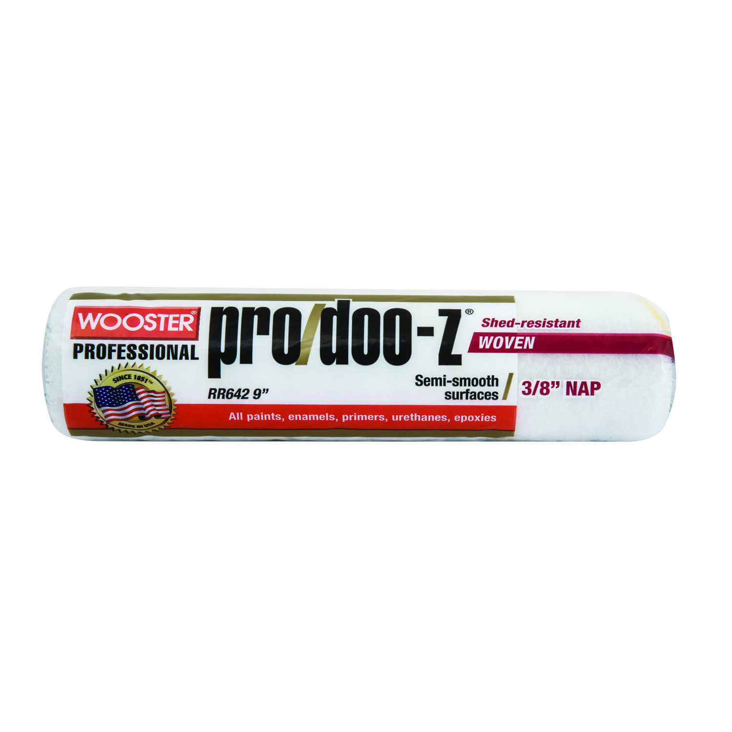 Wooster  Pro/Doo-Z  Fabric  3/8 in.  x 9 in. W Paint Roller Cover  1 pk