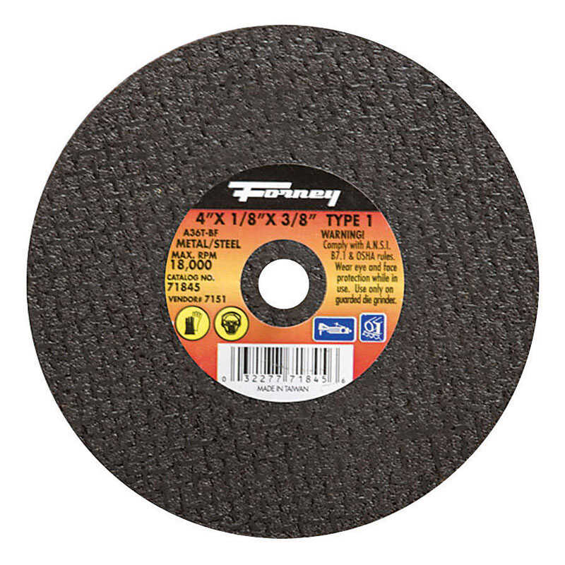 Forney  4 in. Metal Cut-Off Wheel  3/8 in.  x 1/8 in.  Aluminum Oxide  1 pc.