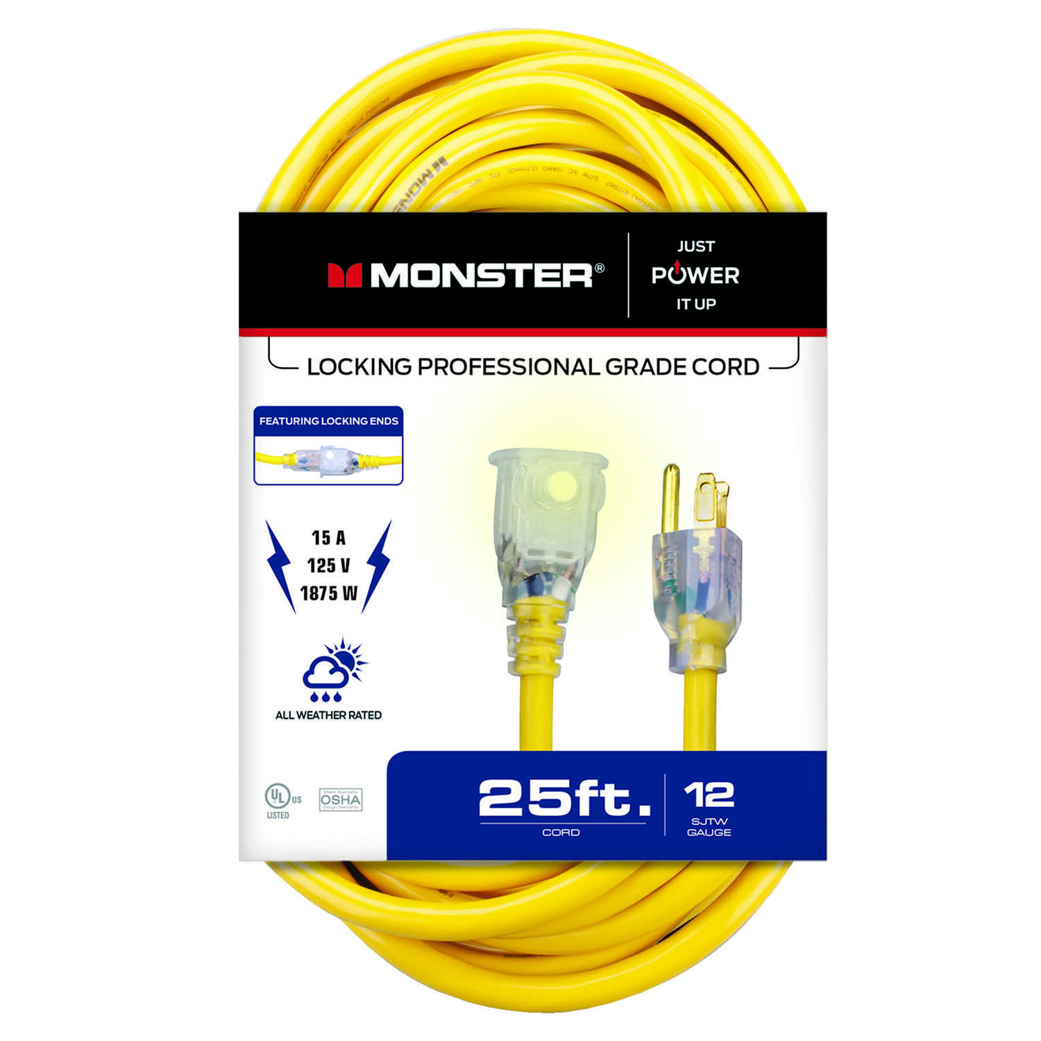 Monster Cable  Outdoor  25 ft. L Yellow  Extension Cord  12/3 SJTW