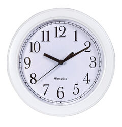 Westclox 9 in. L x 8-1/2 in. W Indoor Analog Wall Clock Plastic White
