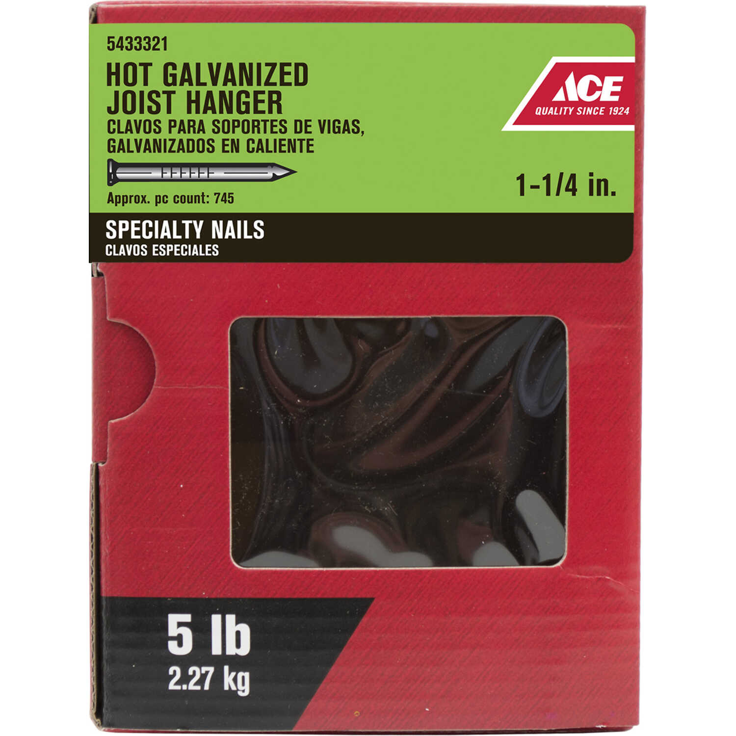 Ace  1-1/4 in. L Joist Hanger  Steel  Nail  Annular Ring Shank  1  5 lb.