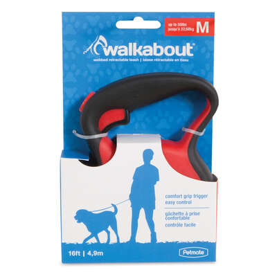 Petmate Walkabout Red Plastic Retractable Leash Medium