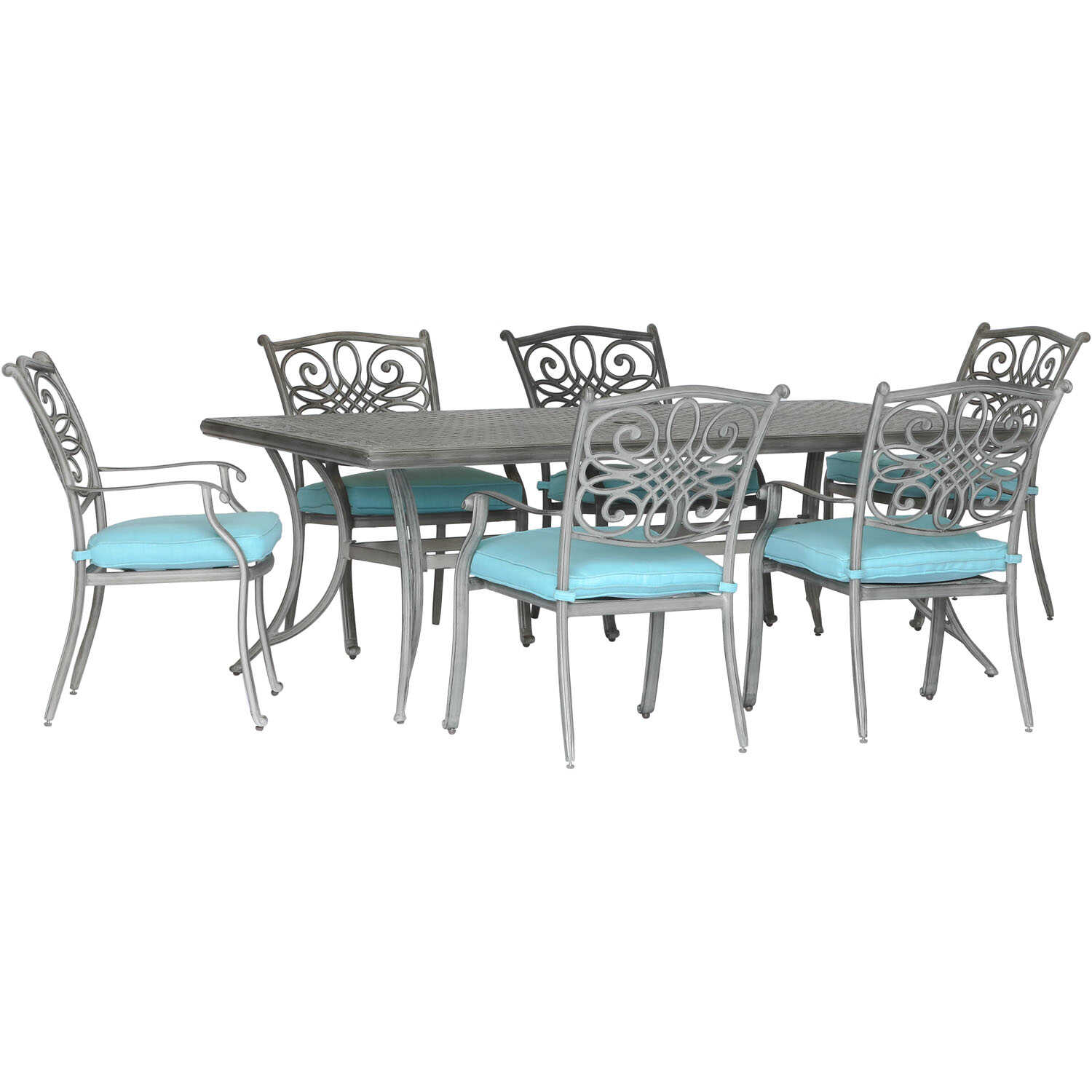 Hanover  Traditions  7 pc. Gray  Aluminum  Dining Set  Blue