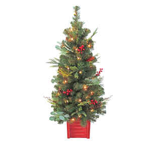Celebrations  Home  Clear  Prelit 4 ft. Leavenworth Christmas  Porch Tree  50 lights 186 tips