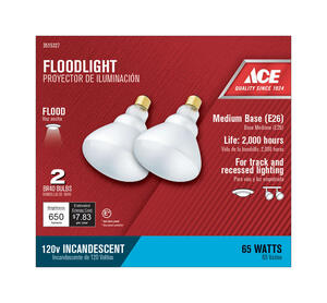 Ace  65 watts BR40  Floodlight  Incandescent Light Bulb  Medium Base  Frosted  2 pk