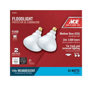 Ace  65 watts BR40  Incandescent Light Bulb  650 lumens Frosted  Floodlight  2 pk
