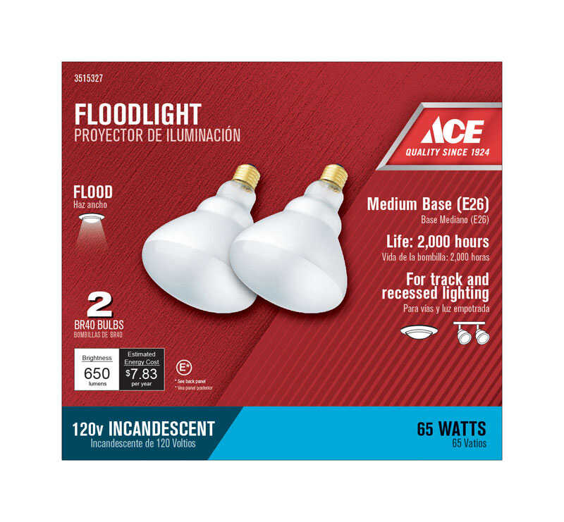 Ace  65 watts BR40  Incandescent Light Bulb  Frosted  2 pk Floodlight  650 lumens