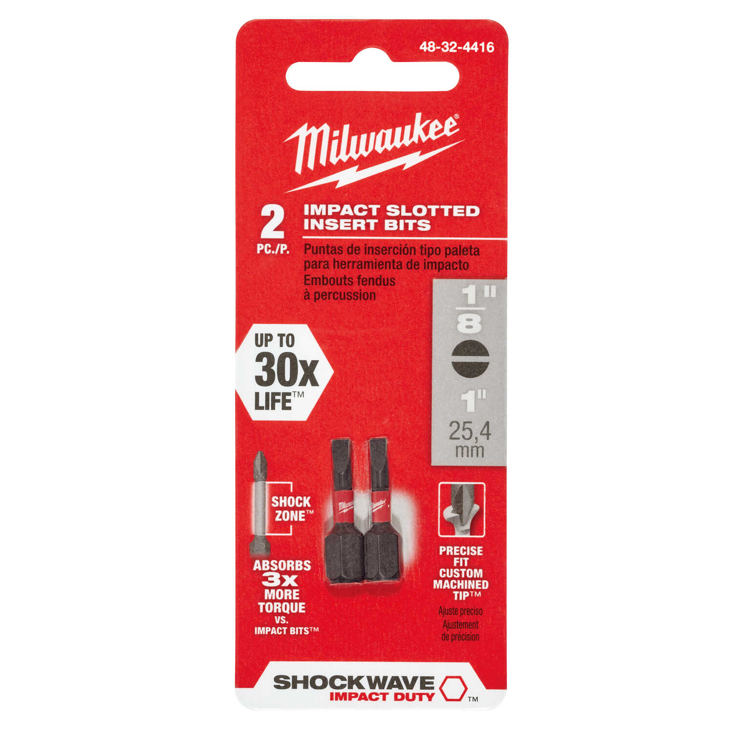Milwaukee  SHOCKWAVE  1/8 in.  x 1 in. L Insert Bit  1/4 in. Hex Shank  2 pc. Slotted  Impact Duty
