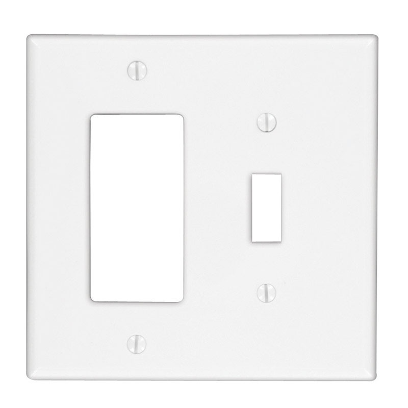 Cooper Lighting  White  2 gang Thermoplastic Nylon  Rocker/Toggle  1 pk Wall Plate