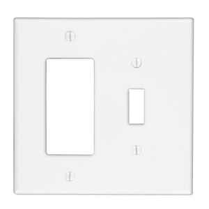 Cooper Lighting  White  2 gang Thermoplastic Nylon  Rocker/Toggle  Wall Plate  1 pk