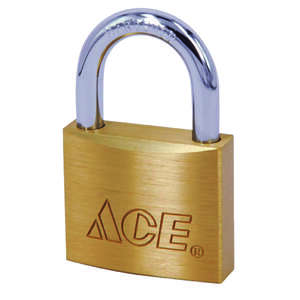 Ace  1-5/16 in. H x 1-1/2 in. W Double Locking  Brass  Padlock