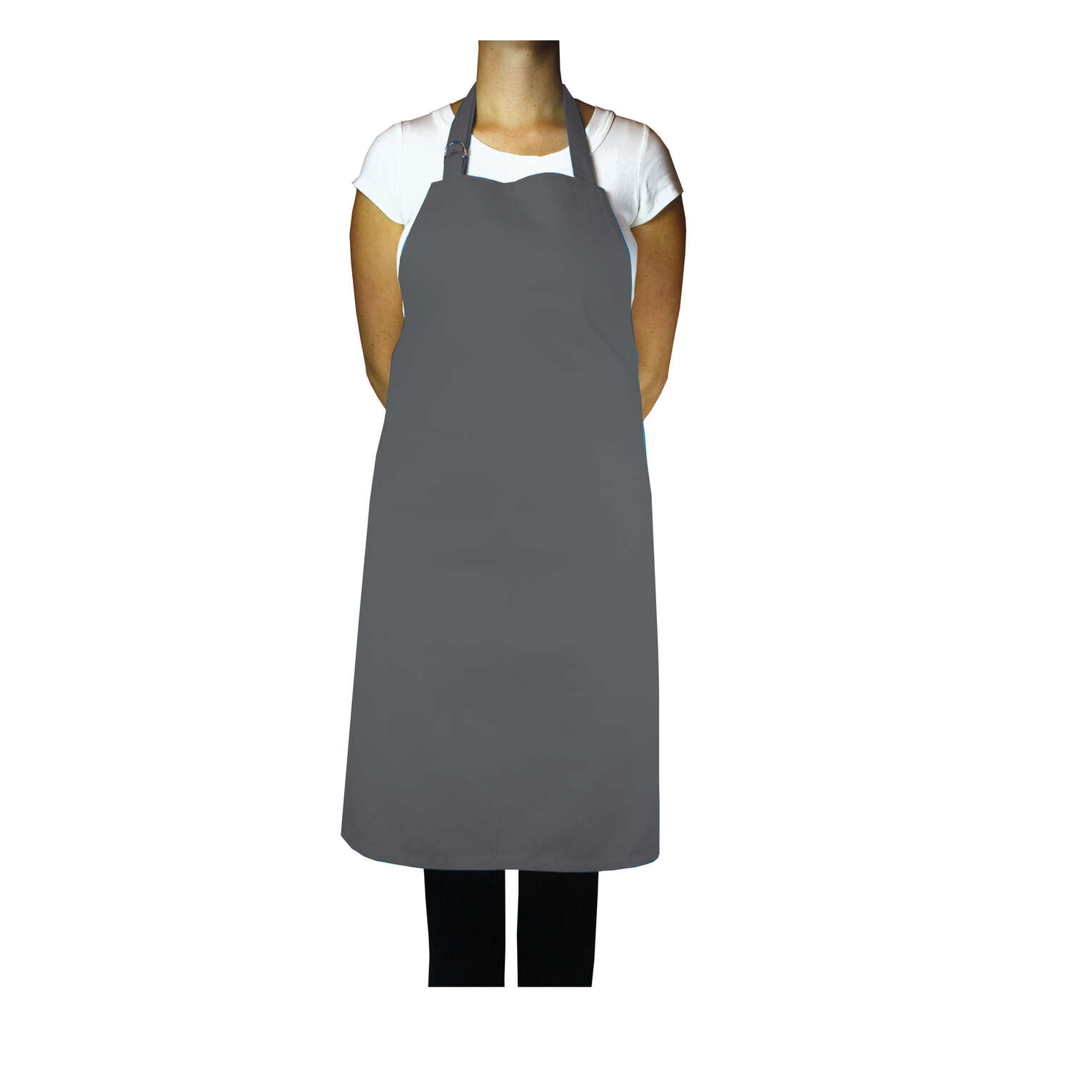 Mu Kitchen  Silver  Cotton  Solid  Bibb Apron